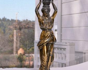 Brass Architectural Piece Vintage Brass Grecian Statue
