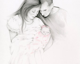 Custom Portraits Family Portrait Stillborn Baby Personalized Memento for Grieving Family Hand Drawn Pencil Portrait from Photograph Keepsake