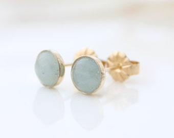 Aquamarine Earrings • gold stud earrings set with aquamarine gemstones • Ear studs