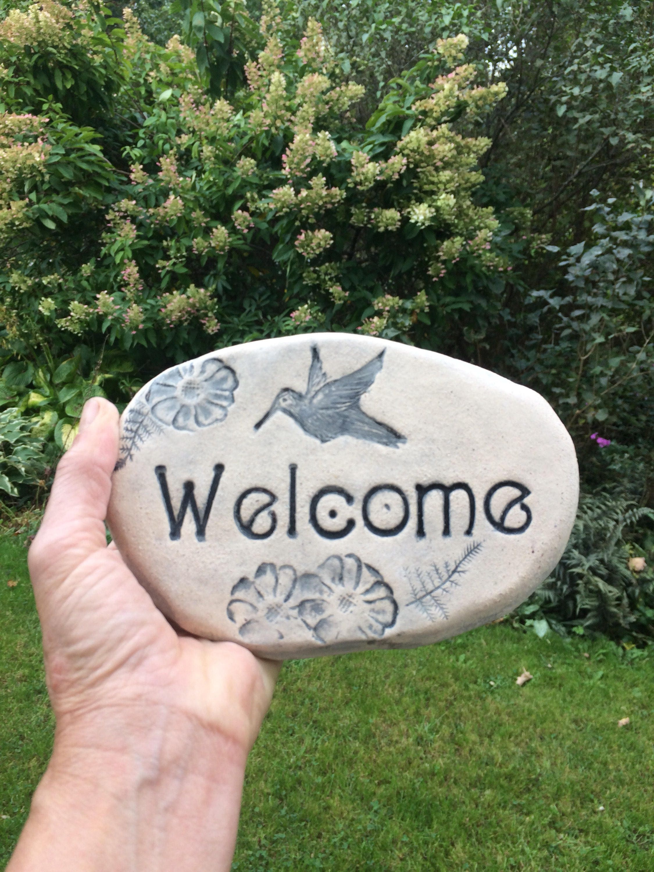 Garden decor garden art.Small outdoor welcome sign