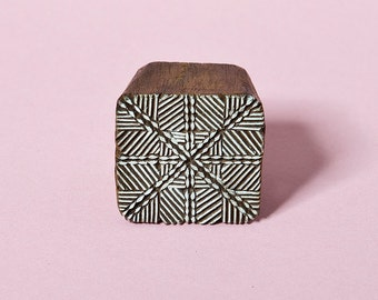 Geometric pattern, hand crafted wood stamp