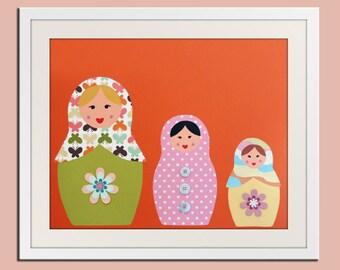 Nursery art print Matryoshka Dolls. 11x14 Babushka, Russian Dolls in orange and pink. Child artwork, kids wall art rooms & playroom