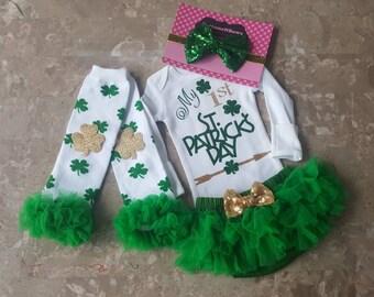 Ready to Ship My 1st St. Patrick's Day Glitter Vinylbodysuit, chiffon ruffled tutu Bloomers,Leg Warmers,& Headbnd Set