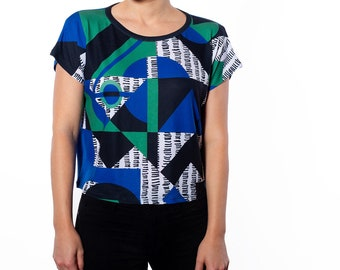 Women's Multi Color Geometric Print Relaxed Fit Cropped Tee