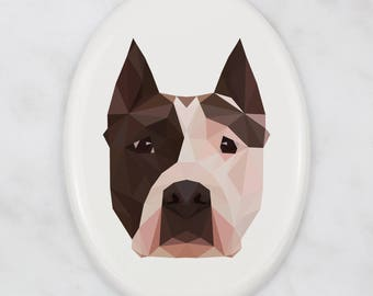 A ceramic tombstone plaque with a Amstaff dog. Art-Dog geometric dog