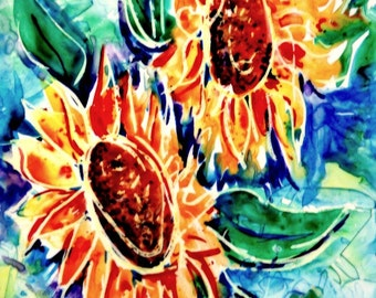 Bold Sunflower Art, Watercolor Yupo Paper, Mixed Media Sunflowers, Sunflower Decor, Abstract, Colorful Sunflowers, Oil Pastel,Art With Heart