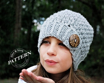 CROCHET PATTERN - Crochet Button Tab Beanie Pattern, Slouchy Button Beanie Pattern, Button Hat (Toddler, Child, Adult Sizes) pdf #001H