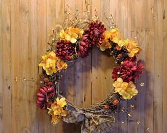 Grapevine Wreath - Fall Colors