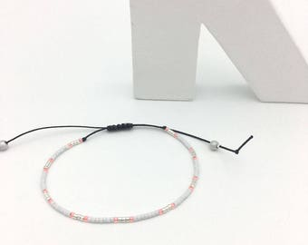 Bracelet MINI coral white and silver No. 2