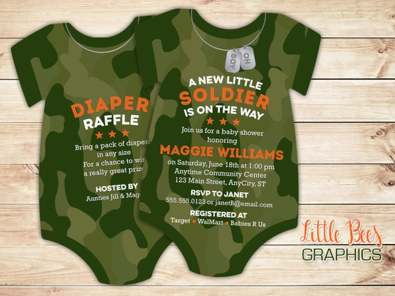 Camo baby shower invitations army soldier invitation like this item filmwisefo Gallery
