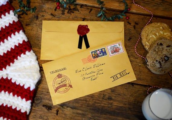 Santa telegram letter personalised christmas telegram with santa telegram letter personalised christmas telegram with wax seal and authentic vintage stamps spiritdancerdesigns Choice Image