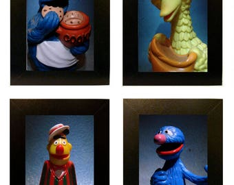 "Framed Sesame Street Toy Photos 4"" x 6"" Muppets"