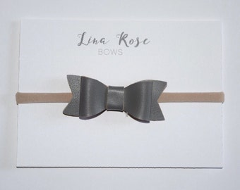 Gray Faux Leather Headband