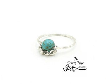 Stabilized turquoise gemstone beaded wire ring, boho ring,  turquoise jewelry, boho jewelry