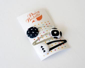Black and white hair clip, made from repurposed fabrics. Pack of three black and white hairclips, from recycled fabrics.