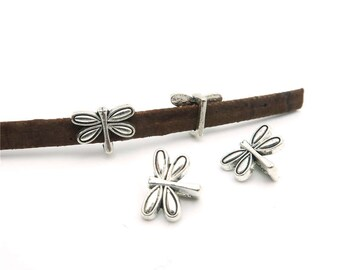 20pcs For 5mm flat leather slider antique sliver dragonfly slider charms jewelry finding supplies 1-5-13
