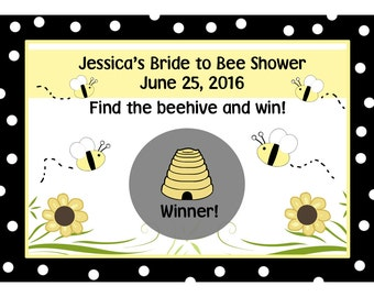 24 Personalized Bridal Shower Scratch Off Game Cards -BRIDE TO BEE  Design