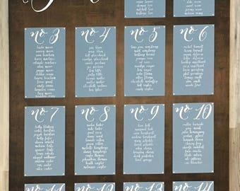 Calligraphy Wedding seating chart Sign Wedding seating plan Board Wood Board Wood Wedding Signs Wedding Signage Custom Signs Wedding tables