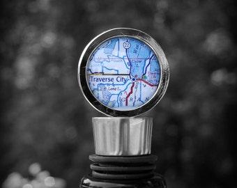 Traverse City Map Wine Stopper