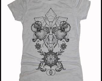 Women's THRIVE Mandala Sacred Geometry Tee Tatto Style Victorian Iris T-shirt
