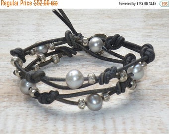 ON SALE Boho Chic Freshwater Pearl and Hill Tribe Flower Beads Double Wrap Leather Bracelet