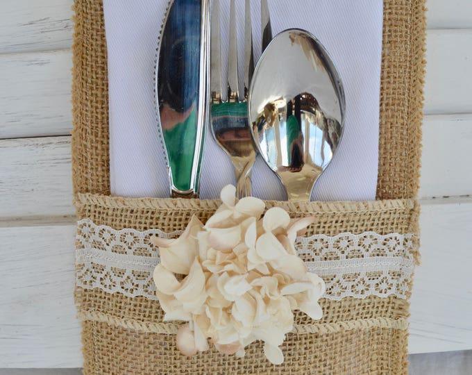 Set Of 8 Rustic Country Burlap Silverware Flatware Cutlery Holders Burlap  Wedding Flatware Holders Rustic Country