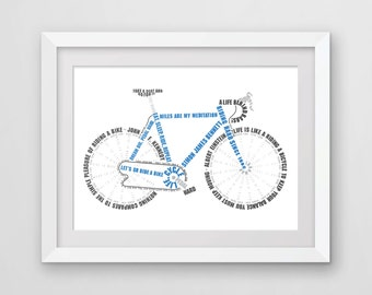 Cycling Word Art Print, Gift for Cyclist, Personalised Bike Art.