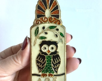 Enamel Owl Clip - Large Paper Clip, Document Clip, Paper Weight - Colorful Bird and Ship with Sails - AOE - Vintage 70s Office Desk Decor