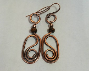 Copper Earrings with Picasso seed beads