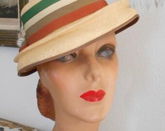 Cute 1940's Straw Tilt Hat