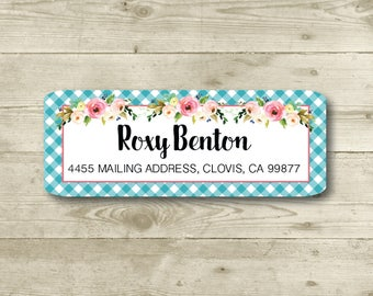 Roses, Turquoise Gingham, Floral, Watercolor Style, Rose, Return Address Label, Personalized, MATTE, Wedding, Shower, All Occasions