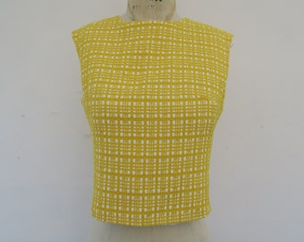 0875 - 40s - Vintage Yellow Woven Stitch Top