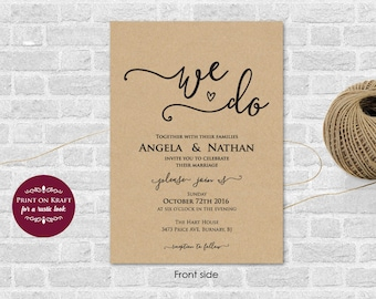 We Do Printable Wedding Invitation Template, Wedding Invitation Printable, Editable Text, Wedding Template, Word (docx) Instant Download