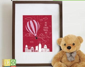 Hot Air Balloon, Transportation Prints, Nursery Print, Air Balloon Print, Aviation,  Item 016