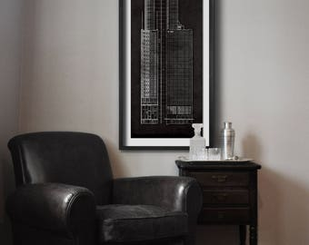 Empire state building blueprint vintage rustic new york city chicago carbide and carbon building blueprint vintage chicago carbide and carbon building blueprint poster print malvernweather Gallery