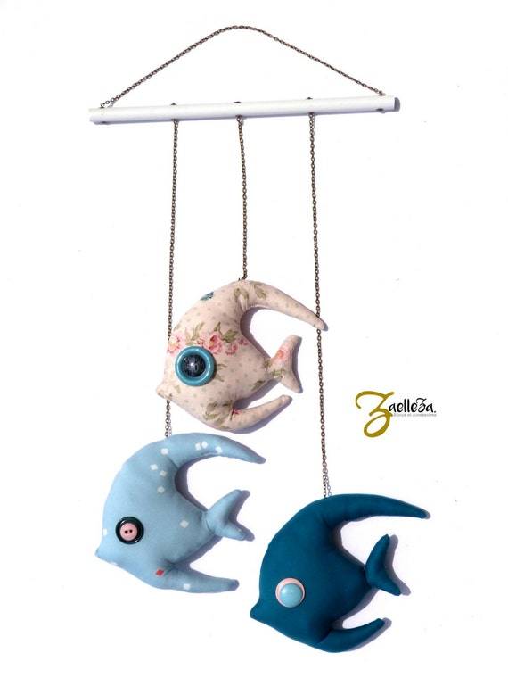 Hanging room - fabric pink blue - unisex gift - fish Mobile decoration / baby - N64 awakening