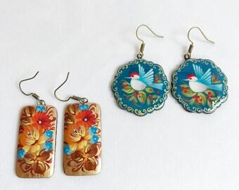 Flower earrings, painted wood earrings, birds, Russian jewelry, floral earrings, boho earrings, bohemian earrings, folk art jewelry