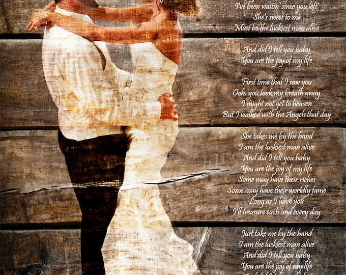 5th Anniversary Gift First Dance Lyrics 5 Year Anniversary First Dance Song Wood Print Photo on Wood Print on Wood Parents Anniversary 16x20
