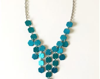 "Super sparkle - teal glitter cocktail necklace - handmade with polymer clay and glitter on 18"" chain"