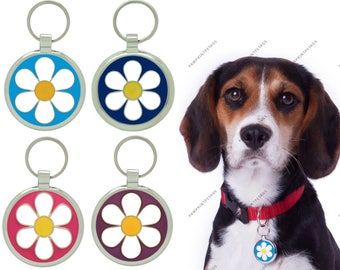 Pet Tag Dog Tags Personalised Engraved Pet Id Tags Dog Tag Daisy Design by Pawprint Pet Tags