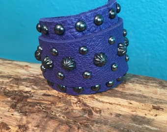 Purple Leather Wrap Cuff with Gunmetal Studs and Spots