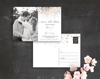 Photo Save the Date Postcard Printable Save the Date Card Custom Save the Date Wedding Announcement Rose Gold Wedding Invitation Printable