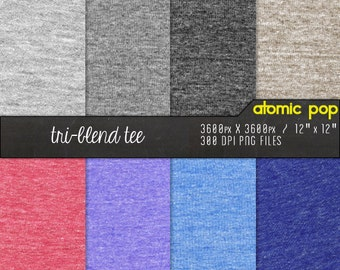 SALE Tri-Blend Vintage Tee Shirt Jersey Coton Fabric Digital Paper Pack// Instant Download for Decoupage, Scrapbooking, and Crafts