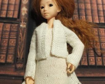 Handmade Blythe / Azone / Obitsu / Barbie doll white dress and jacket set