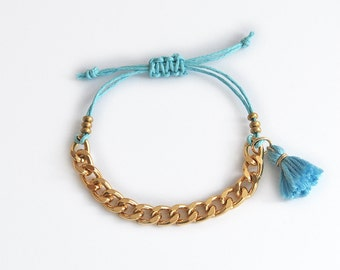 Aqua blue bracelet with chunky chain, turquoise tassel bracelet, boho bracelet for stacking