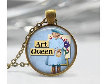 Vintage Art Queen Pendant, Funny Pendant, Friend Gift Pendant, Glass Cabochon Necklace Pendant, Collage Artist Pendant, Bronze Silver, 1389