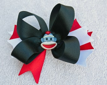 Red Black and White Hair Bow, Sock Monkey Button, Infant toddler girls Hair Bows