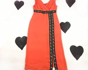 60's orange black silver gold evening gown party dress 1960's ruched goddess long slit skirt metallic sleeveless dress / Halloween / XL