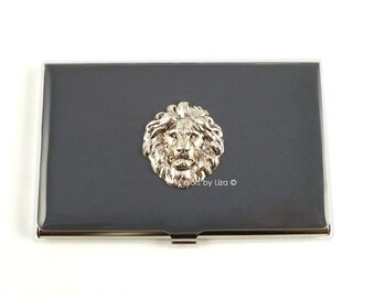 Lion Inlaid in Hand Painted Enamel Gray Opaque Metal Wallet Custom Colors and Personalized Options
