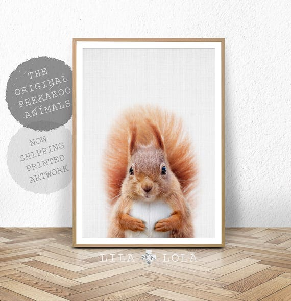 Squirrel Print, Woodland Nursery Wall Art Decor, Forest Animals, Baby Animal Prints, Large Poster, Large Wall Art
